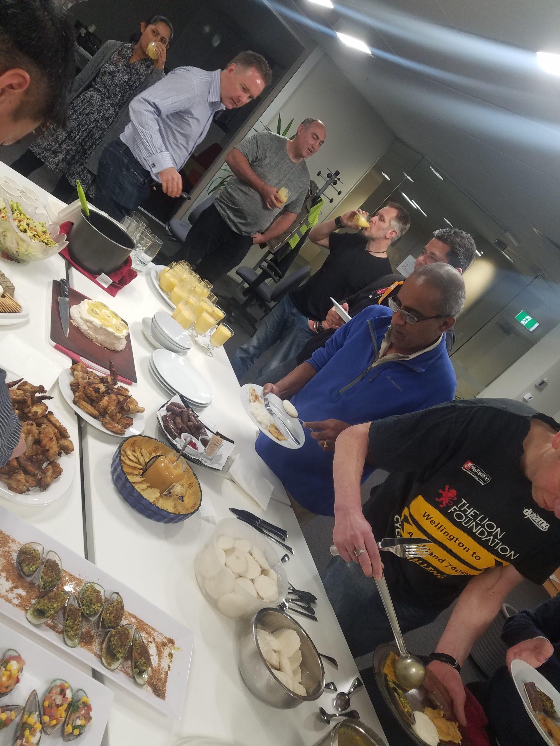 The Reckon NZ team having lunch