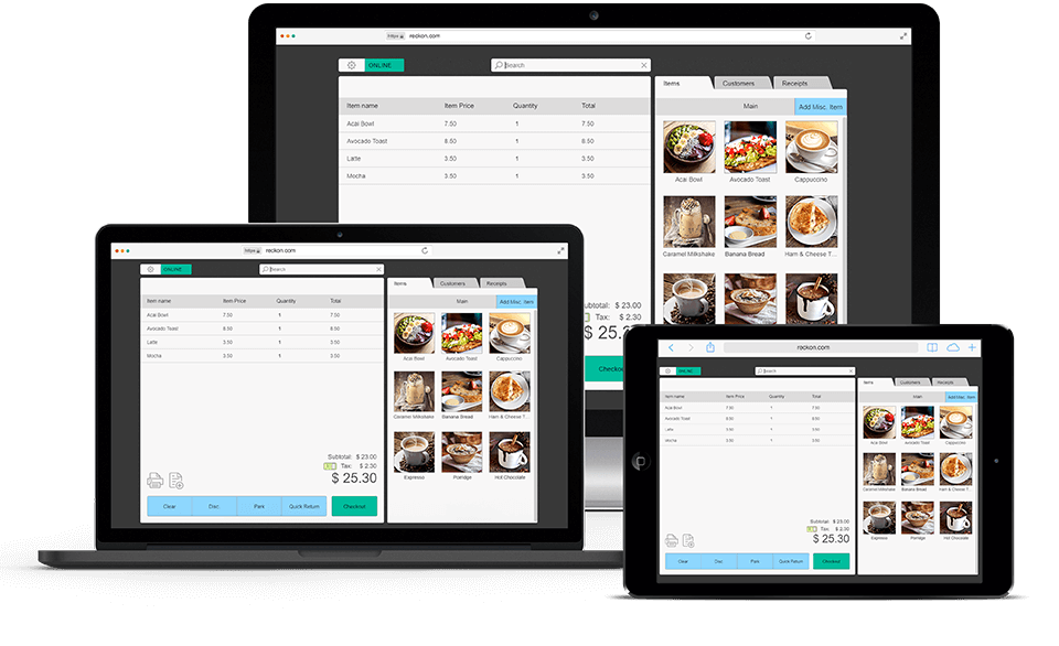 Get started on a PC, Mac, iPad or tablet. Reckon Cloud POS is accessed via a web browser, which means it runs on virtually any computer, laptop, ipad or tablet. We recommend you use Reckon Cloud POS with Google Chrome as the software is developed and optimised for use with this web browser.