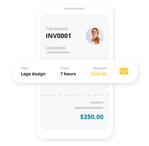 Invoice on the go, get paid faster  Send professional looking invoices in seconds. Get paid faster and keep your bank account happy! Add your logo to pre-loaded templates, notes to specify payment instructions, and even custom messages to add a personal touch.