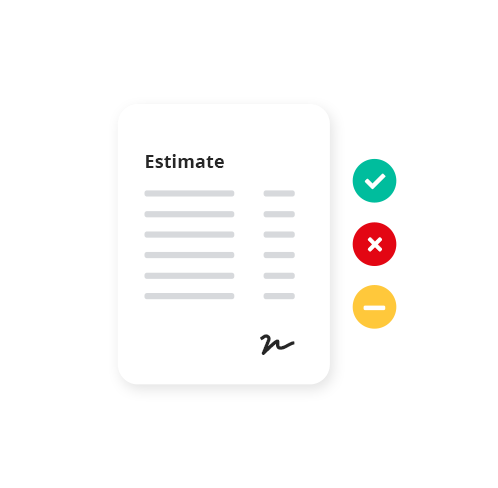 Easy estimates  The Estimates Workflow, available as part of the Invoices module in Reckon One, allows you to easily create and send estimates to your clients in real time.  You are then able to track pending invoices against their expiry date, and convert the status of the estimate to an accepted, declined or closed invoice once the client responds.